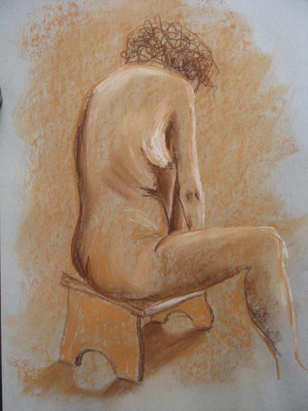 Braun, Frau, Orange, Zeichnung, Pastellmalerei, Weiß