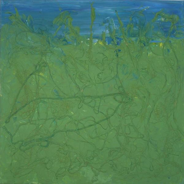 Collage, Experimentell, Schnur, Bast, Malerei, Grün