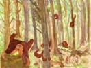 Bilderbuch, Aquarellmalerei, Waldschelme, Aquarell