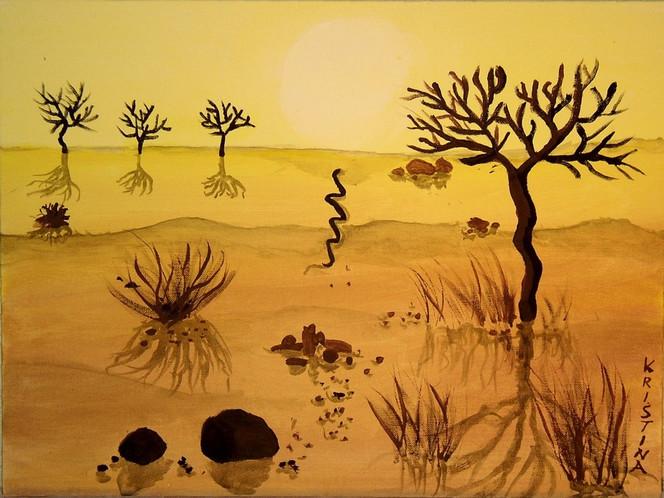Afrika, Wüste, Acrylmalerei, Steppe, Malerei
