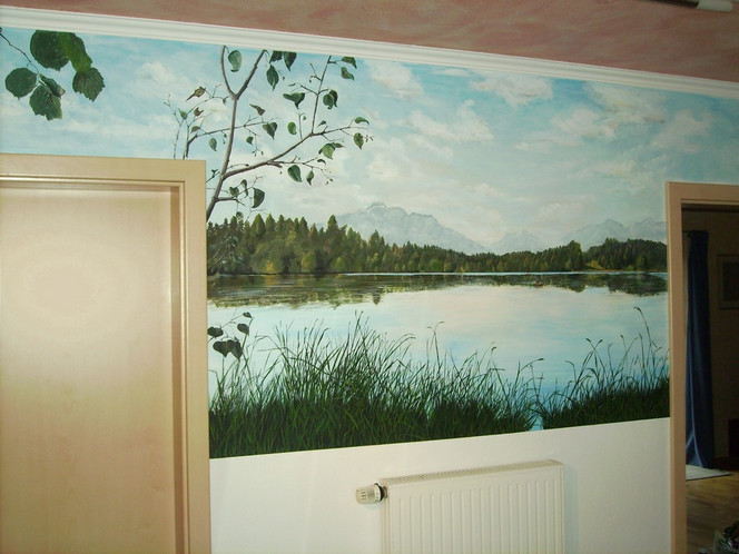 Alpen, Fresko, Landschaft, See, Berge, Wandmalerei