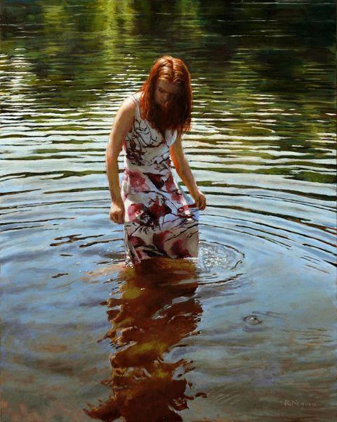 Licht, Welle, Fotorealismus, Reflexion, Frau, Realismus