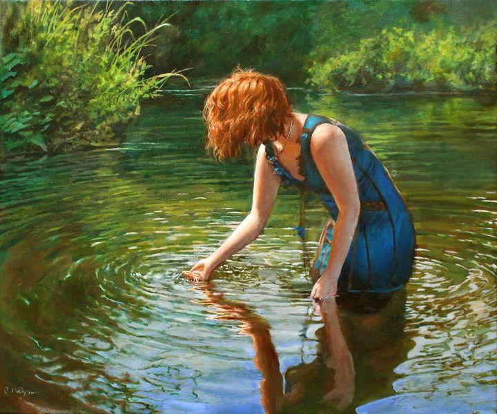 Realismus, Wasser, Kleid, Haare, Welle, Rot