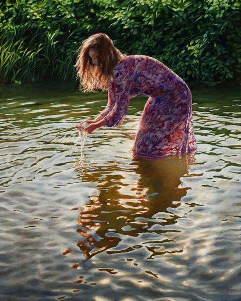 Realismus, Spiegelung, Fotorealismus, Frau, See, Wasser
