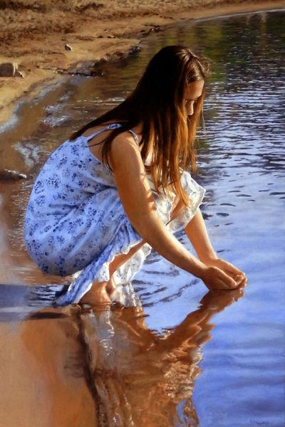 Fluss, Junge frau, Ölmalerei, Wasser, Malerei, Menschen