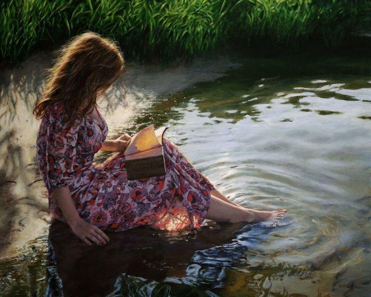 Buch, Ufer, Fotorealismus, Wasserspiegelungm wasser, Lesen, Malerei