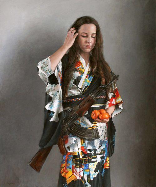 Kimono, Farben, Mandarine, Gewehr, Fotorealismus, Ölmalerei