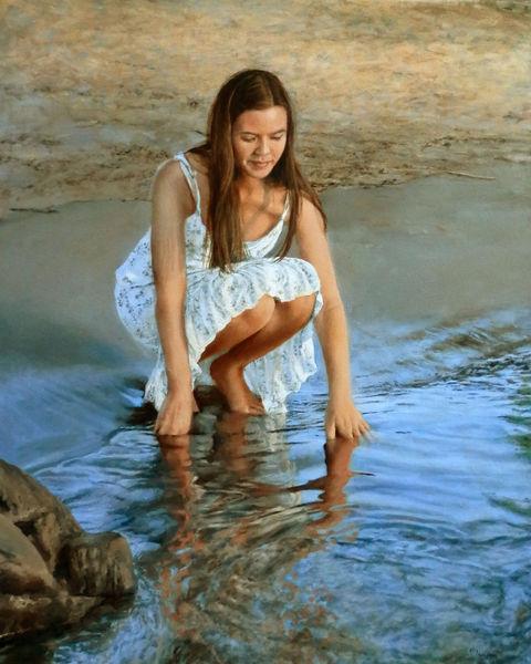 Ölmalerei, Fluss, Junge frau, Wasser, Blau, Malerei