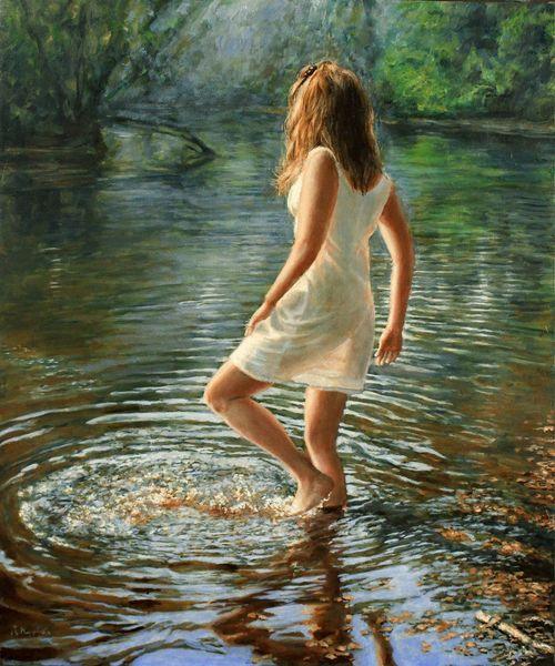 Reflexion, Realismus, Haare, Kleid, Welle, Fotorealismus