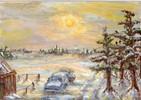 Landschaft, Schnee, Malerei