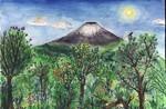 Urwald, Vulkan, Regenwald, Malerei