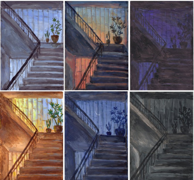 Treppenhaus, Licht, Nacht, Tag, Malerei