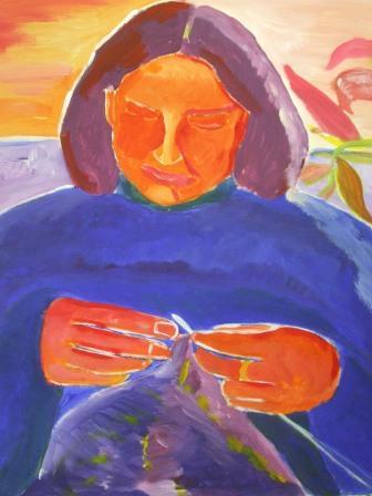 Stricken, Acrylmalerei, Frau, Malerei, Menschen,