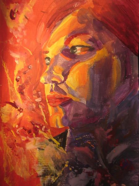 Bunt, Rot, Portrait, Selbstportrait, Acrylmalerei, Abstrakt