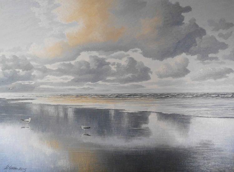 Sonnenlicht, Norden, Nordsee, Möwe, Welle, Malerei