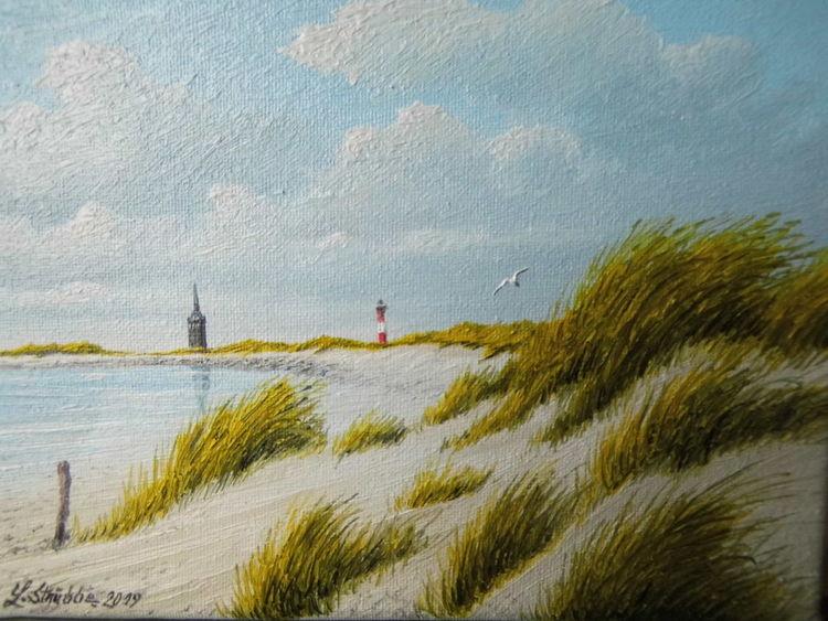Strand, Dünen, Wasser, Malerei