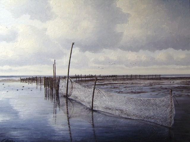 Weite, Nordsee, Ostfriesland, Friesland, Watt, Malerei