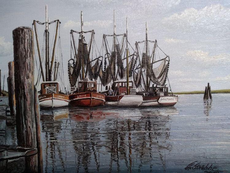 Kutter, Hafen, Greetsiel, Wasser, Malerei