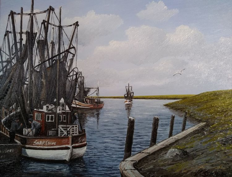 Hafen, Greetsiel, Kutter, Ostfriesland, Wasser, Malerei