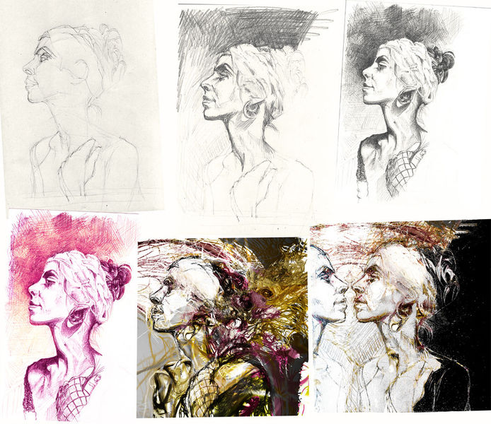 Portrait, Progress porträt, Frau, Mischtechnik, Strich, Punkt