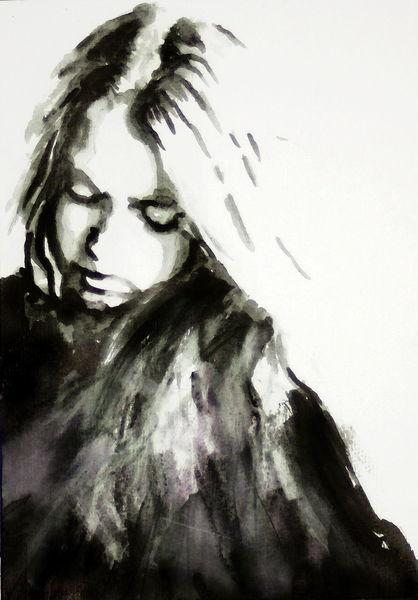Monochrom, Ausdruck, Frau, Gesicht, Portrait, Aquarell