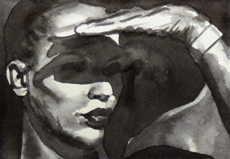 Monochrom, Frau, Licht, Aquarellmalerei, Schatten, Aquarell