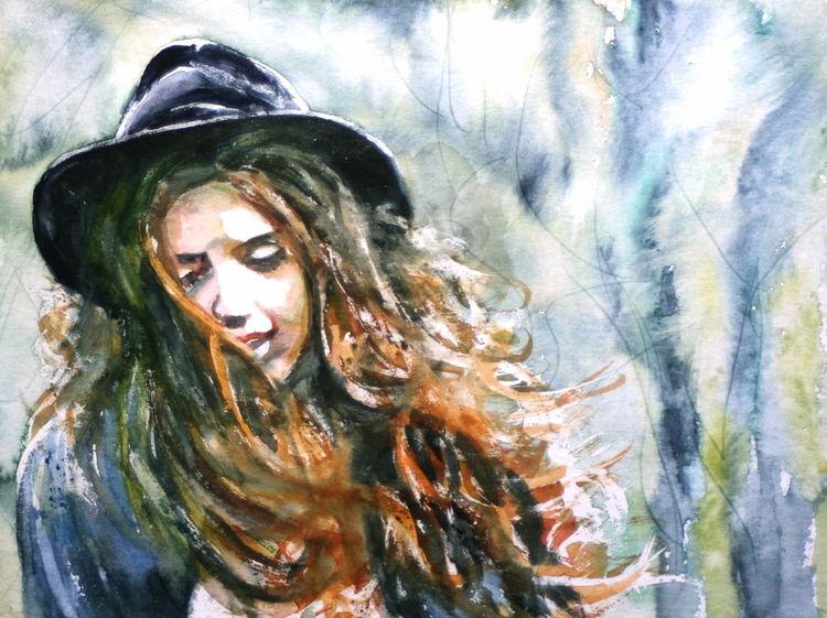 Frau, Ausdruck, Hut, Haare, Aquarellmalerei, Aquarell