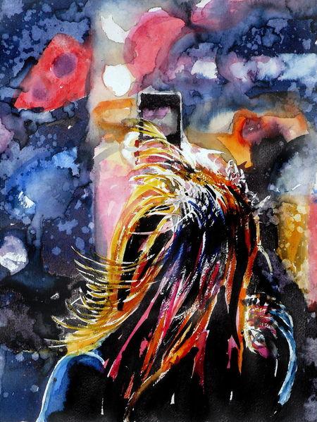 Frau, Licht, Haare, Farben, Abstrakt, Aquarell