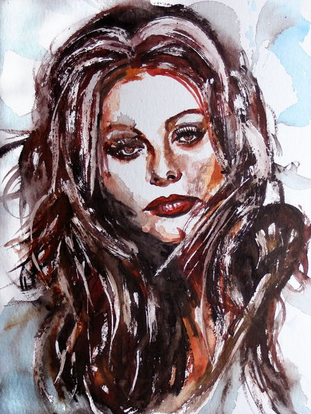 Frau, Blick, Gesicht, Portrait, Haare, Aquarell