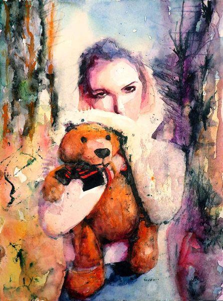 Frau, Farben, Licht, Portrait, Bär, Ausdruck