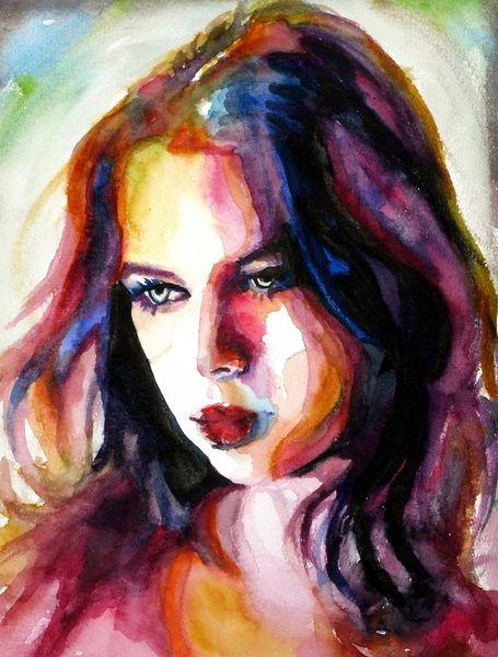 Blick, Bunt, Farben, Ausdruck, Portrait, Frau