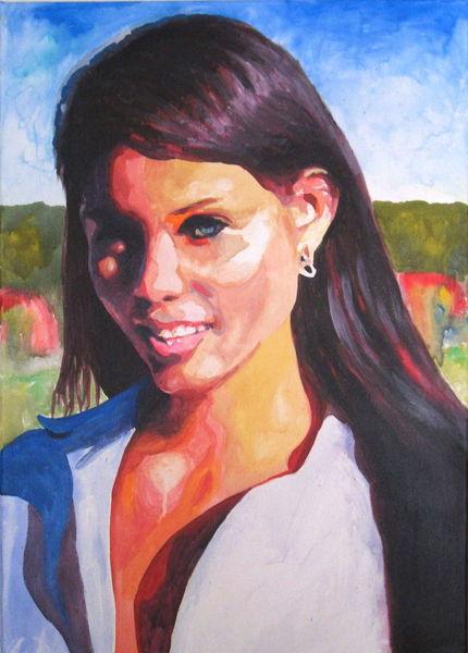Haare, Frau, Schönheit, Acrylmalerei, Blick, Ausdruck