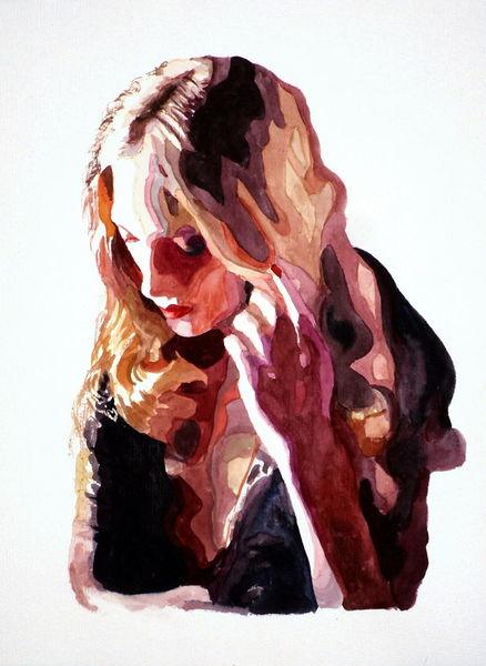 Ausdruck, Blick, Aquarellmalerei, Frau, Portrait, Aquarell