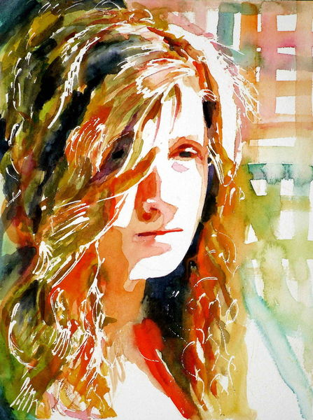 Licht, Farben, Aquarellmalerei, Blick, Frau, Haare