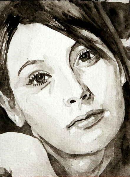 Monochrom, Frau, Portrait, Aquarellmalerei, Malerei