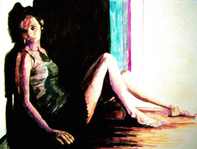 Schatten, Portrait, Aquarellmalerei, Frau, Lage, Malerei