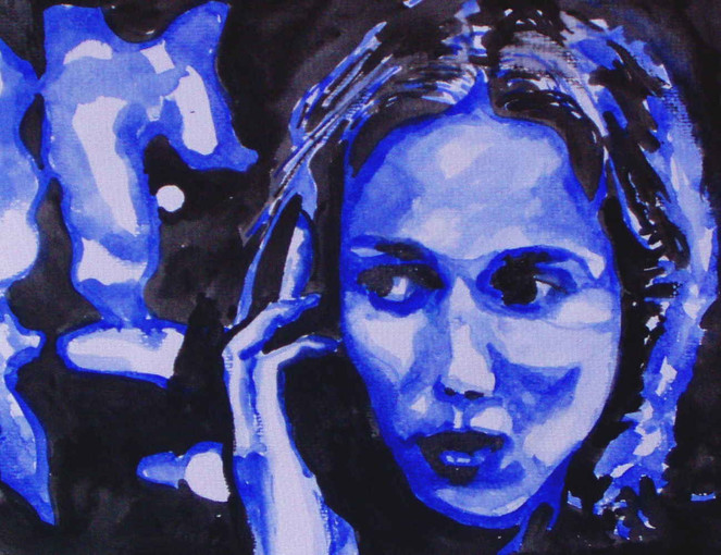 Aquarellmalerei, Blau, Portrait, Malerei