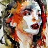 Ausdruck, Frau, Farben, Gesicht
