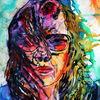 Portrait, Farben, Frau, Haare
