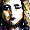 Frau, Gesicht, Aquarellmalerei, Blick
