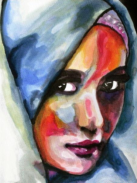 Farben, Blick, Frau, Ausdruck, Gesicht, Aquarell