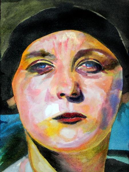 Gesicht, Portrait, Frau, Farben, Frontal, Malerei