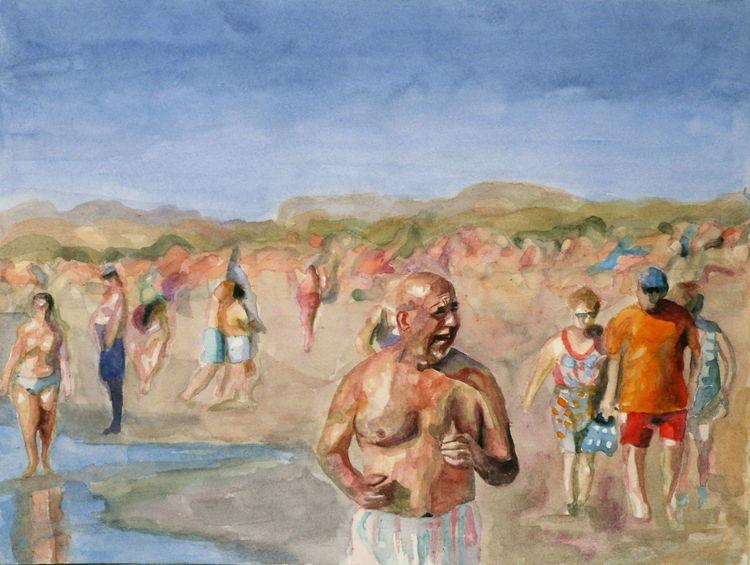 Sand, Urlaub, Aquarellmalerei, Strand, Sonne, Meer
