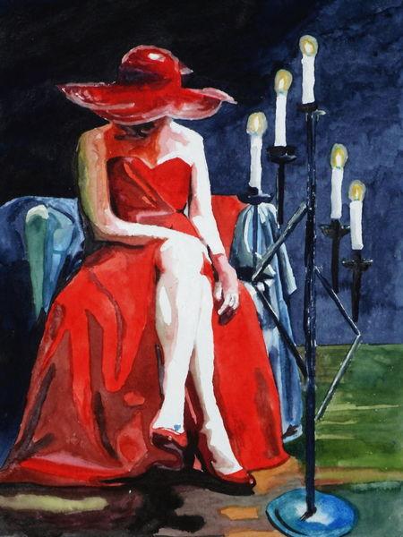 Rot, Aquarellmalerei, Licht schatten, Frau, Lady beine, Hut