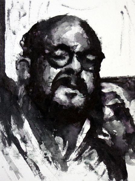 Portrait, Monochrom, Mann, Menschen, Aquarell