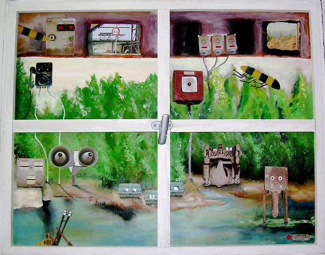 Monster, Maschienen, Natur, Malerei, Blick, Fenster