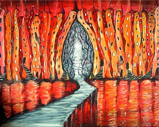 Acrylmalerei, Weg, Stadt, Tor, Stadtansicht, Malerei