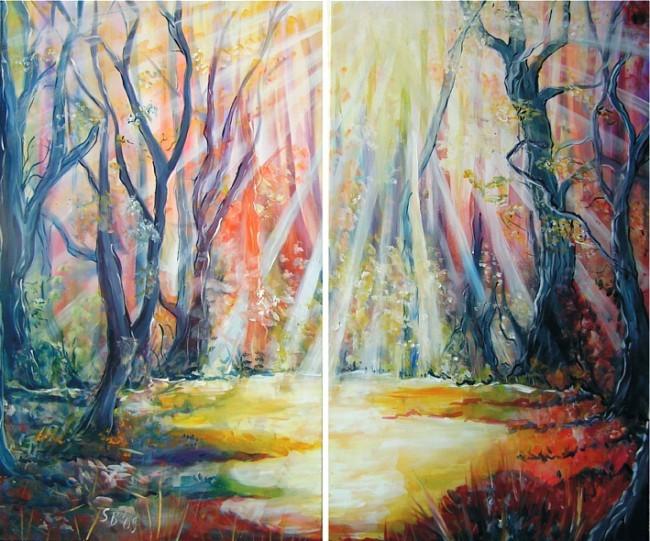 Wald, Licht, Weg, Lichtung, Sonne, Baum