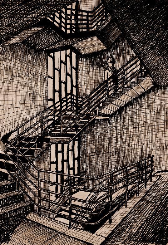 bild zeichnungen surreal treppen von jonas bei kunstnet. Black Bedroom Furniture Sets. Home Design Ideas