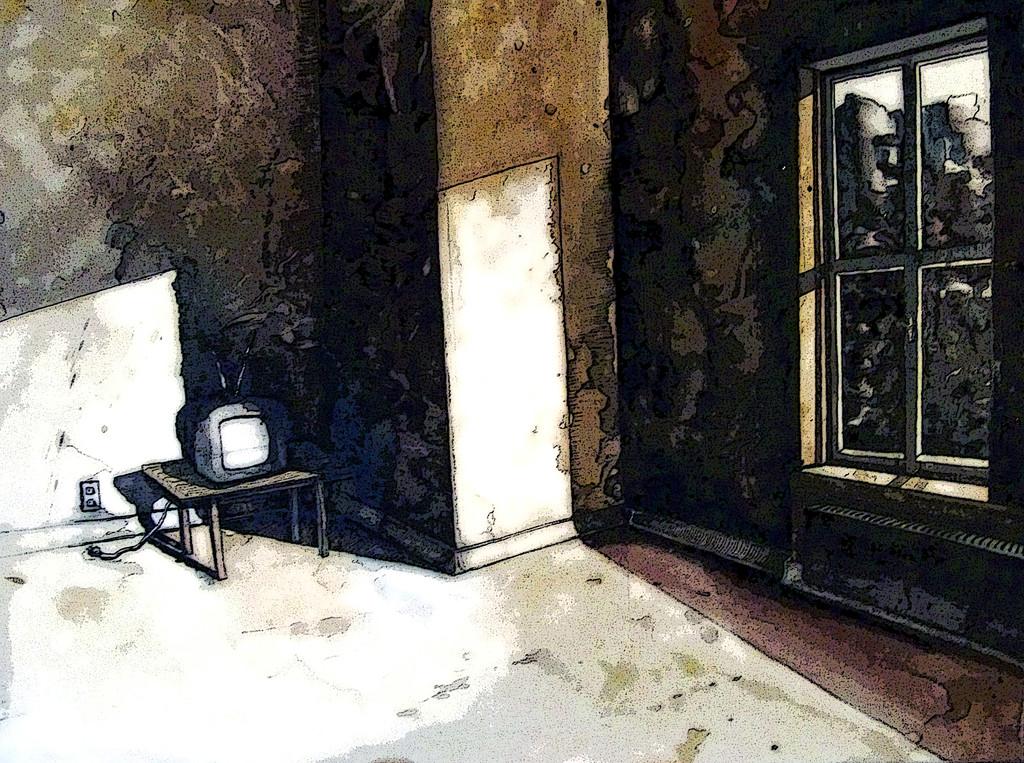 Tv in an empty room licht raum fenster fernseher von for Fenster 60x80